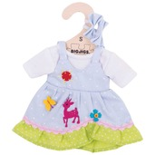 Blue Spotted Dress with Deer (for 28cm Doll)