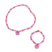 Heart Bracelet and Necklace (Dark Pink Bead)