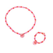 Heart Bracelet and Necklace (Light Pink Bead)