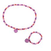 Heart Bracelet and Necklace (Purple Bead)