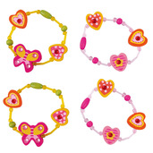 Snazzy Wooden Bracelets (Pack of 4 - 2 Green and 2 Pink)