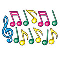 Neon Musical Notes Silhouettes