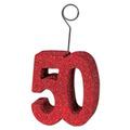 """Glittered """"50"""" Photo/Balloon Holder"""