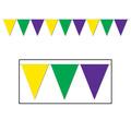 Golden-Yellow,Green & Purple Pennant Bnr