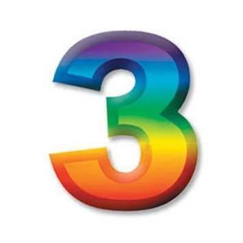"Multi-Color Plastic 3-D Number ""3"" picture"