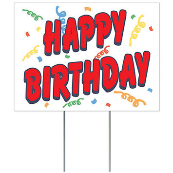 Plastic Happy Birthday Yard Sign picture