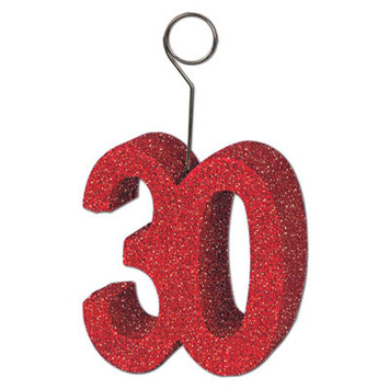 "Glittered ""30"" Photo/Balloon Holder picture"