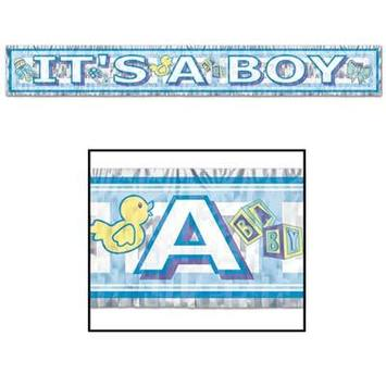 Metallic It's A Boy Fringe Banner picture