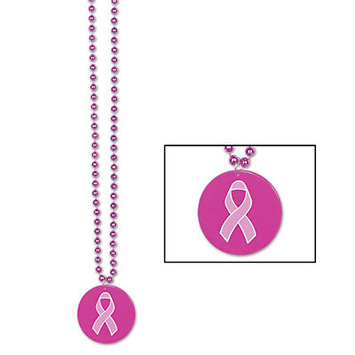 Beads w/Printed Pink Ribbon Medallion picture