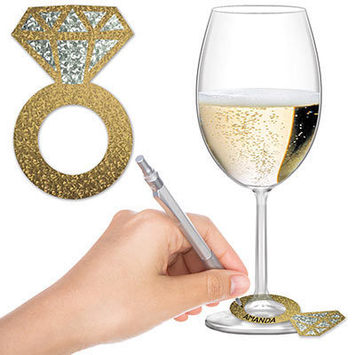 Diamond Ring Wine Glass Markers picture