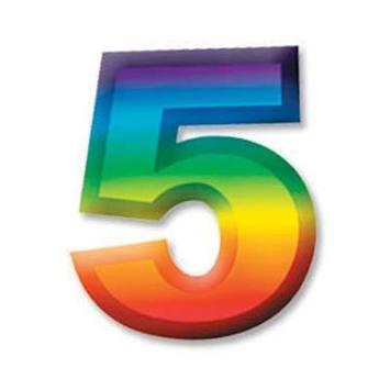 "Multi-Color Plastic 3-D Number ""5"" picture"