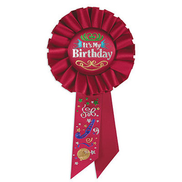 Red It's My Birthday Rosette picture