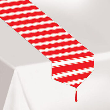 Printed Red & White Stripes Table Runner picture