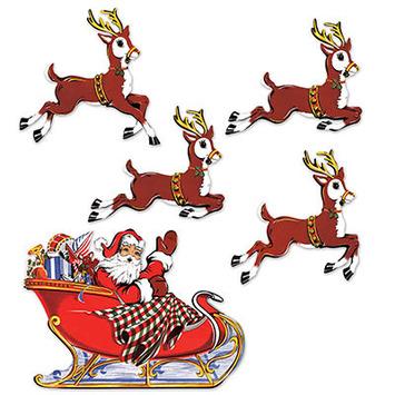 Vintage Christmas Santa & Sleigh Cutouts picture