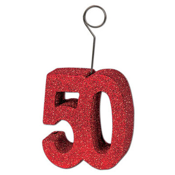 "Glittered ""50"" Photo/Balloon Holder picture"
