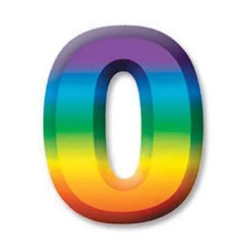 "Multi-Color Plastic 3-D Number ""0"" picture"