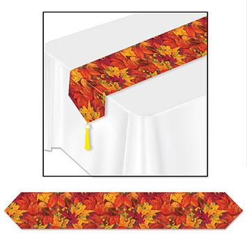 Printed Fall Leaf Table Runner picture