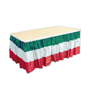 Red, White & Green Table Skirting picture