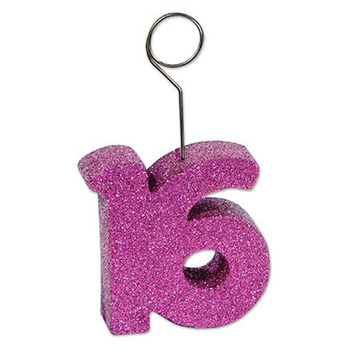 "Glittered ""16"" Photo/Balloon Holder picture"