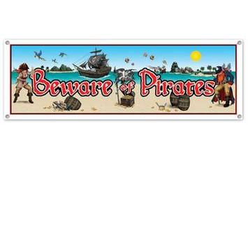 Beware Of Pirates Sign Banner picture