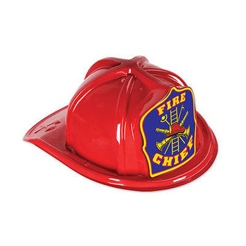 Red Plastic Fire Chief Hat picture