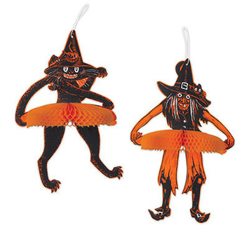 Vintage Halloween Jtd Tango Witch & Cat picture