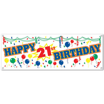 """Happy """"21st"""" Birthday Sign Banner picture"""