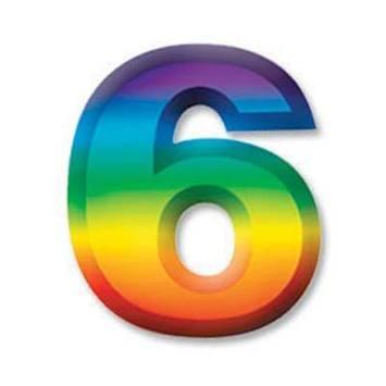 "Multi-Color Plastic 3-D Number ""6"" picture"