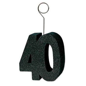 "Glittered ""40"" Photo/Balloon Holder picture"