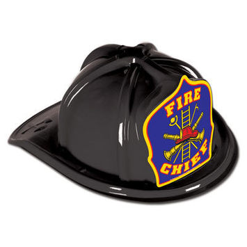 Black Plastic Fire Chief Hat picture