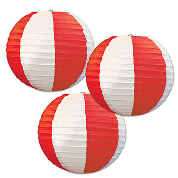 Red & White Stripes Paper Lanterns picture