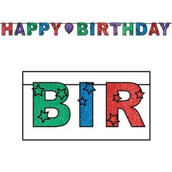 Glittered Happy Birthday Streamer picture