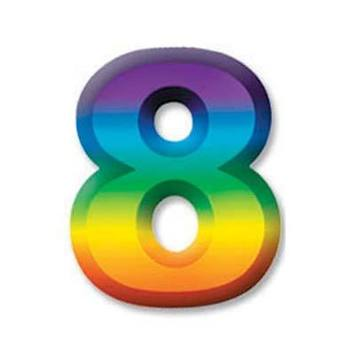 "Multi-Color Plastic 3-D Number ""8"" picture"
