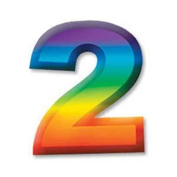 "Multi-Color Plastic 3-D Number ""2"" picture"
