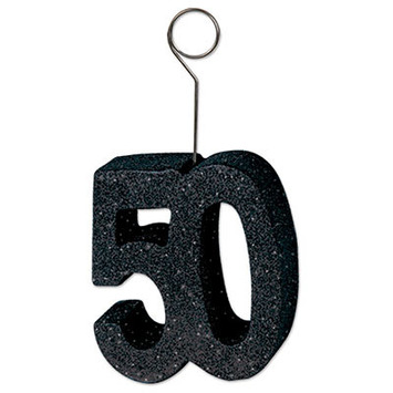 "Glittered ""50"" Photo/Balloon Holder picture"