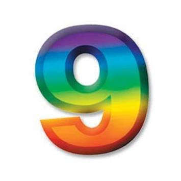 "Multi-Color Plastic 3-D Number ""9"" picture"