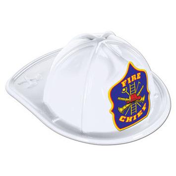 White Plastic Fire Chief Hat picture