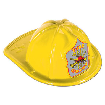 Yellow Plastic Fire Chief Hat picture