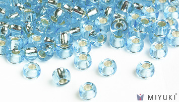 Miyuki 6/0 Glass Beads 18 - Silverlined Pale Sky Blue approx. 30 grams picture