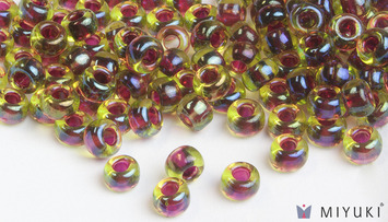 Miyuki 6/0 Glass Beads 336 - Cranberry-lined Peridot AB approx. 30 grams picture