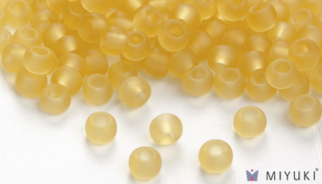 Miyuki 8/0 Glass Beads 132F - Transparent Frost Pale Gold approx. 30 grams picture