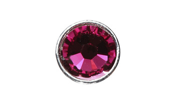 3mm Buttons Fuchsia with Silver Bezel 100 pk picture