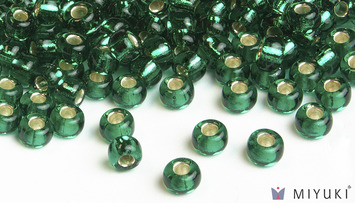 Miyuki 8/0 Glass Beads 17 - Silverlined Emerald approx. 30 grams picture