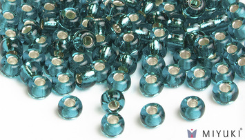 Miyuki 8/0 Glass Beads 2425 - Silverlined Teal approx. 30 grams picture