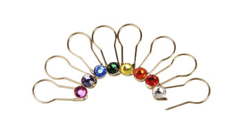 Gold Pins Assorted Colors 16 per set-Crystaletts picture