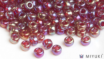 Miyuki 6/0 Glass Beads 298 - Transparent Ruby AB approx. 30 grams picture