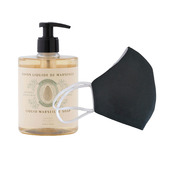 6 Washable protective masks GT9501 + 3 bottles of Soothing Almond French Hand Soap.