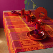 """Mille Wax Ketchup Tablecloth 35""""x35"""", 100% Cotton"""