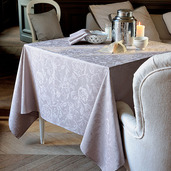 "Mille Charmes Taupe Tablecloth Round 71"", 100% Cotton"