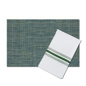 Bistro White Polyester Napkin with Forest Green Stripes, with matching Oslo Green and Blue Vinyl Placemat, Set of 4